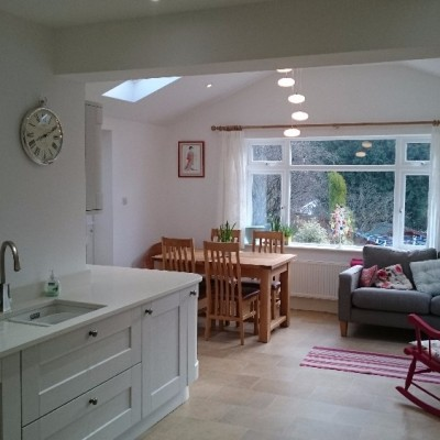 The addition of an extension more than doubled the size of this kitchen.